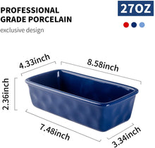 Load image into Gallery viewer, (X093)DUS Bread Pan Loaf Pan 8.5 inch Ceramic Bread Baking Pans for Porcelain Toast Baking Bread Pans Nonstick Meatloaf Pan, Dark Blue