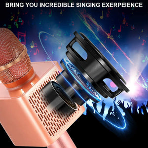 (V516)Ankuka Karaoke Wireless Microphone for Kids, Portable 4 in 1 Bluetooth Karaoke Machine Speaker Toys, Gifts for Christmas Birthday