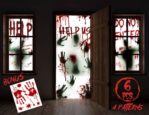 "(V027)KD KIDPAR 6Pcs Halloween Window Door Decoration Covers Set, Includes 4Pcs 60x30"" Window Clings and 2Pcs 80x36"" Door Posters with Bloody Handprints Scary Silhouette"
