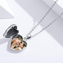 Load image into Gallery viewer, (F052)Angel Wings Heart Locket Necklace That Holds Pictures with Cubic Zicornia, Always In My Heart 925 Sterling Silver Photo Necklaces for Women Girls Jewelry Gifts