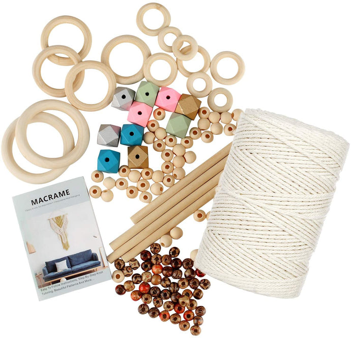 (H142)132 Pcs Macrame Kit, 3mm x 219 Yard Natural Cotton Cord with Wooden Sticks,Hoops Rings,Colored Bead, Book,Macrame DIY Kit