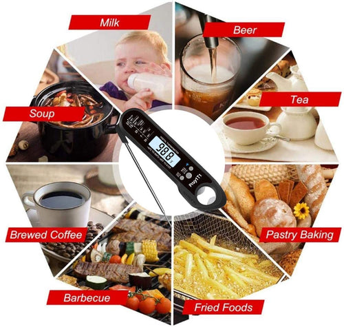 (D373)Digital Instant Read Meats Thermometers Kitchen Cooking Candy Food Thermometers with Backlight & Calibration Bottle Opener