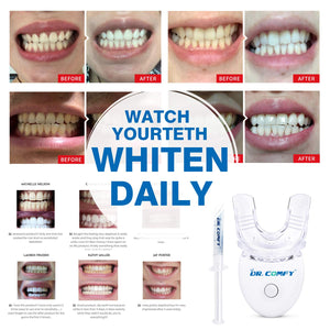 (D804)Teeth Whitening Kit-Dr. Comfy, with LED Accelerator Light, (4X)35% Carbamide Peroxide,(1X) Desensitizing Gel for Sensitive Teeth and Gums