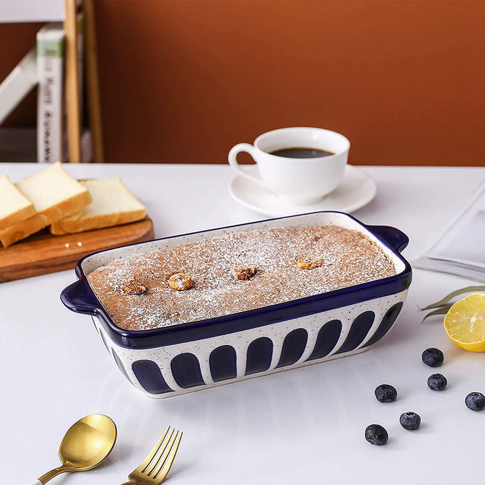 (X105)Loaf Pan Ceramic Bread Baking Pan Toast Pan Baking Dish Bakeware for Baker Christmas Day Dinner Serving Dish -Dark Blue