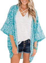 Load image into Gallery viewer, (Y552)Simplee Women's Floral Printed Kimono Cover Ups Summer Beach Chiffon Open Front Swimwear Cardigan