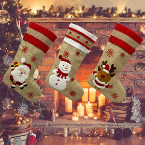 (H485)KAQ Christmas Stockings Xmas Stockings, Fireplace Hanging Stockings Decoration 3D Plush Linen Santa, Snowman, Reindeer, Family Holiday Christmas Party Decor