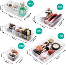 Load image into Gallery viewer, (T242)Weihao 16 Piece Drawer Organizers, 5 Different Size Clear Desk Drawer Organizer Storage Tray with Non-Slip Silicone Pads, Storage Drawer Divider