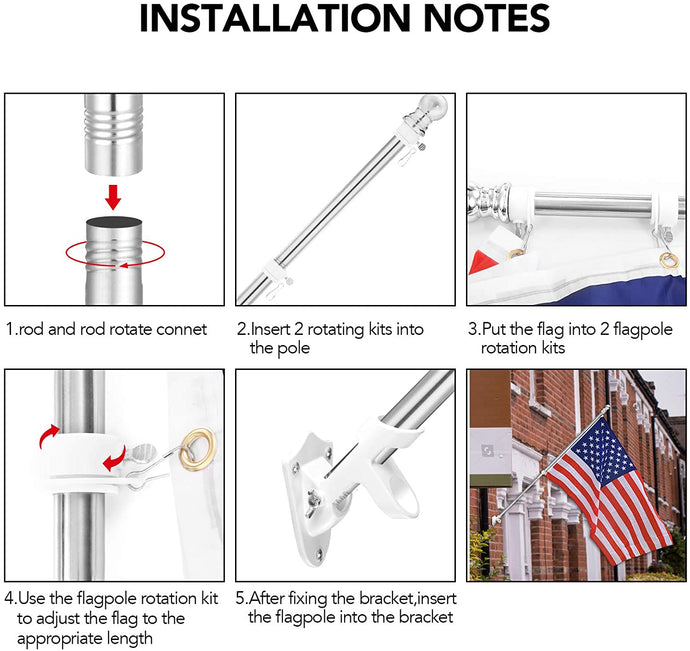 (Y623)Yeesun Flag Pole,6FT American Flag Pole & Bracket-Suitable for 3 x 5 Flags Holder for House Porch & Outdoor,Tangle Free and Wall Mount Flag Pole Kit (Without Flag,Silver)