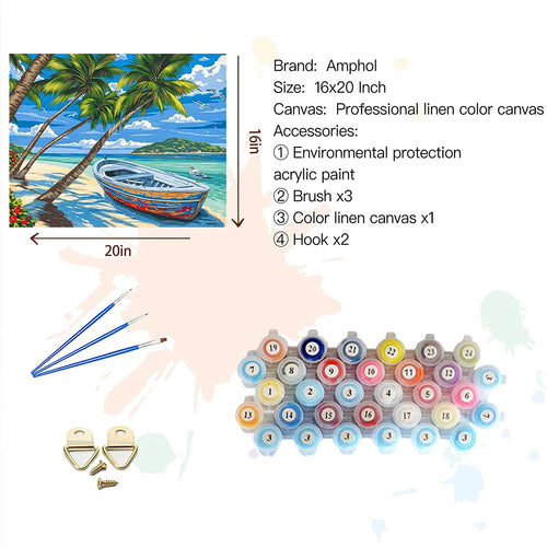 (K202)Amphol Beach DIY Paint by Numbers for Adults, Easy Paint by Numbers for Beginner, Acrylic Watercolor Paint Release Pressuer, Perfect