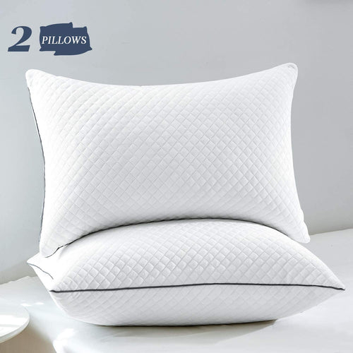 (Y190)GOHOME Bed Pillows for Sleeping, Standard Size Set of 2, Hyperallergenic Sleeping Pillows with Velvet Fabric, Soft and Supportive, Good