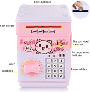 (Y936)Serendipity Electronic Piggy Bank for Kids, Money Bank with Password Cute Piggy Bank Coin Can, Auto Scroll Paper Money Saving Box, Great Toy Gift