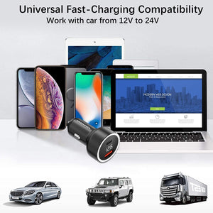 (S466)Car Charger, NEEKFOX Mini Dual Port Car Charger, 27W Metal USB Charger Voltage Display with Power Delivery Quick Charge 3.0, Car Adapter Compatible