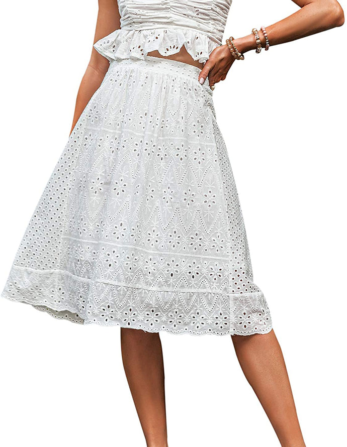 (M541) Narspeer Women's Casual Embroidered A-line Skirt Elegant High Waisted Midi Skirt Flared Knee Length Skirts