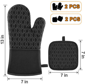 (F166)Jaweke Oven Mitts and Pot Holders 4Pcs Set, Extra Long 500℉ Heat Resistant Oven Gloves with Cotton Lining, Non-Slip Silicone Surface for Kitchen Cooking, Baking, BBQ