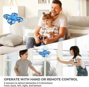 (T920)Dragon Touch DK01 Mini Drones for Kids, Multiple Remote Controls-Hand Operated RC Quadcopter, G-Sensor Mode, 3D Flips, Altitude Hold, Headless Mode
