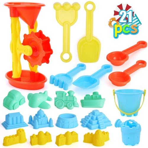 (W948)Qutasivary 22pcs Beach Sand Toys Set for Kids with Take-Apart Sand Water Wheel, Beach Bucket, Watering Can, Shovel Tool Kits and Castle...