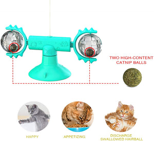 (H210)Windmill Cat Toy, Interactive Toys for Indoor Cats, Catnip Toys with Suction Cup Light Ball Retractable Wand Feather Toys and Balls