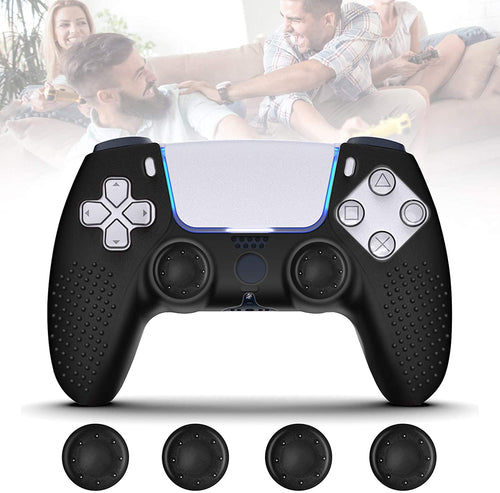 (G264)PS5 Controller Grip Skin Anti-Slip Silicone Covers Case with 4Pcs Joystick Silicone Cap Cases, Dustproof Durable Controller Protector Case