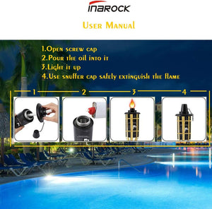 (R040) INAROCK Torch Canisters,Bamboo Torch Refill Canister,Replacement Citronella Torch Fuel Canisters with Wicks and Covers, Outdoor Patio Torch for Luau Party,