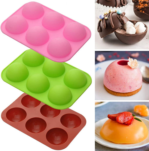 (K401)Silicone Molds for Hot Chocolate Bombs, Cake, Jelly, Dome Mousse, Pudding, Handmade Soap Mould DIY Cookies Baking Mold Semi Sphere