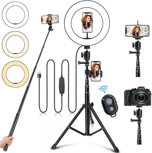 (Q272)Ring Light with Stand and Phone Holder, 10