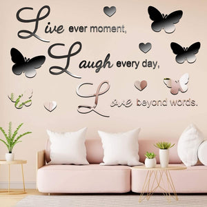 (J012)3D Acrylic Mirror Wall Decor Stickers Removable Butterfly Mirror Wall Stickers DIY Love Every Moment for Home Office School Teen Dorm Room...