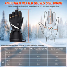 Load image into Gallery viewer, (Q534)AMBOTHER USB Heated Gloves for Men Women Rechargeable Lithium Battery 3M Cotton Waterproof Temperature Settings