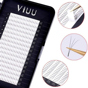 (V264)Volume Eyelash Extensions 3D C Curl Individual Mink Lashes 0.15 Natural Pre-made Fans Eyelash Supplies (3D-0.15C-8mm)
