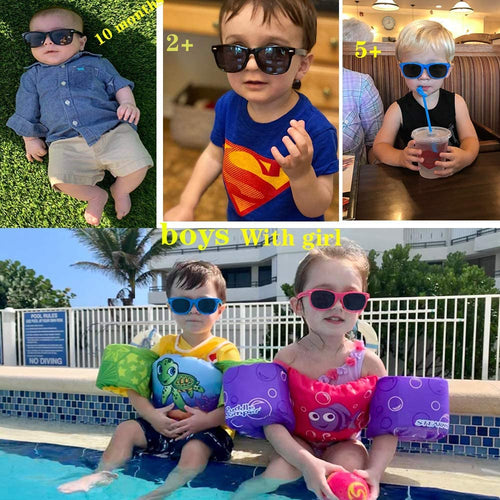 (D711) tazat Baby Sunglasses Rubber Kids Polarized, Toddler 100% UV Protection Sunglasses, Fit Shades Boys Girls Age 2-6