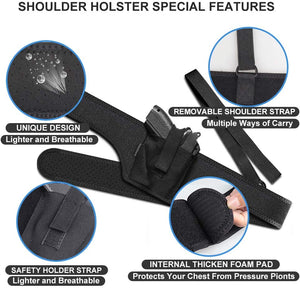 (S491)HANDSONIC Deep Concealment Shoulder Holster, Universal Underarm Gun Holster for Men and Women, Fits Subcompact and Compact Pistols