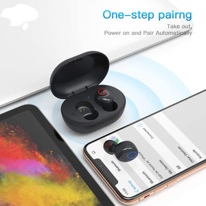 (E321) Bluetooth Wireless Headphones with Charging Case Immersive Sounds