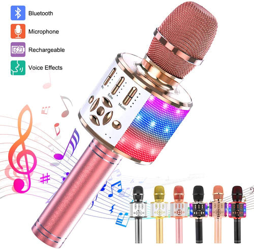 (Q283)Ankuka Karaoke Microphone for Kids, Fun Toys for Girls and Boys, Portable Wireless 4 in 1 Bluetooth Karaoke Microphone with LED Lights