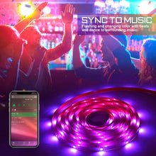 Load image into Gallery viewer, (G139)Buthsku LED Strip Lights, 50ft/15M Lights Strip Bluetooth APP controll, Music Sync Color Changing Light Strip with 44-Keys IR Remote Controller, RGB 5050 LED Rope Light