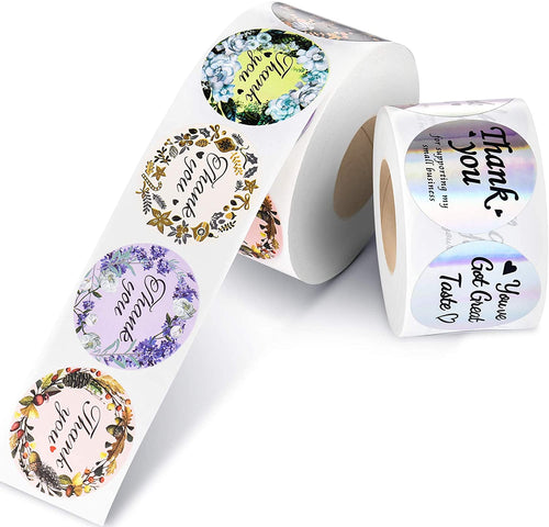 (V321)Thank You Stickers 2 Rolls Set,Floral and Holographic Sticker Roll for Wedding and Party Favors, Envelopes,Gift Package,Business Events,Boutiques