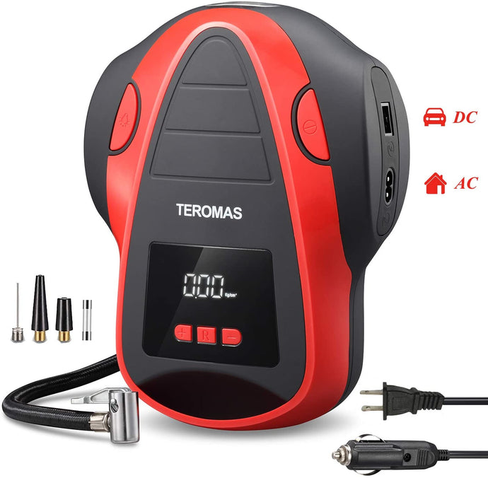 (H930)TEROMAS Tire Inflator Air Compressor, Portable DC/AC Air Pump for Car Tires 12V DC and Other Inflatables at Home 110V AC