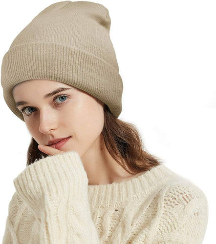 (D944)YOULEY Womens Winter Beanie Knit Hats Acrylic Soft Warm Girls Women Men Unisex Cuffed Ski Caps