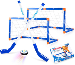 (H450)Boys Toys Hover Hockey Set, Hockey Ball Set for Indoor Games, Air Power Training Ball Playing Hockey Game,Hockey Toys for 3 4 5 6 7 8 9 10 11 12 Year Old Boys Girls