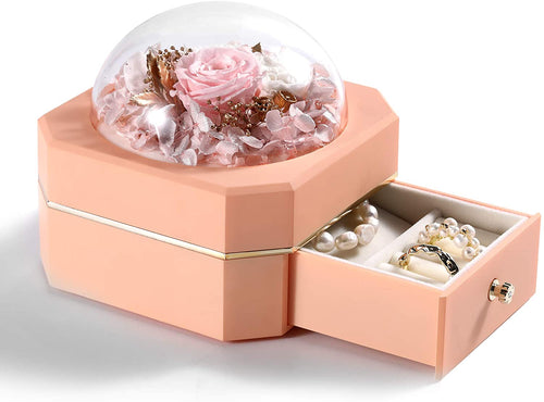 (V895)Secmote Preserved Real Rose, Eternal Handmade Preserved Rose with Jewelry Box, Enchanted Real Rose Flower
