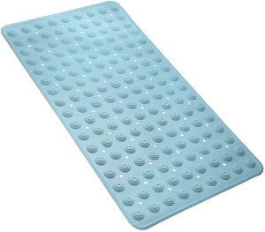(R703)VOOWO Non Slip Bathtub Mat,Long Bath Shower Mat with Drain Holes,Suction Cups,Machine Washable Pad for Bathroom