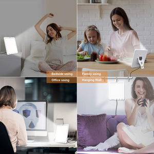 (G181)Light Therapy Lamp,DZY UV-Free 10000 Lux LED Sunlight Lamp,White Light、Natural Light and Warm Light,Timer Function, Adjustable Brightness Levels, Touch Control