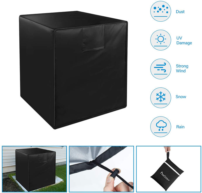 (G114)HOCOSY Air Conditioner Covers for Outside Units, Central AC Covers for Outside Fits Up to 24 x 24 x 22 inches, Waterproof, Dust-Proof and Windproof Durable AC Unit Cover