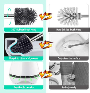 (K620)HOKEND Toilet Brush with Ventilated Holder, Toilet Bowl Brush Bathroom Cleaning Set, Durable Soft Silicone Brush Head Deep Cleaning