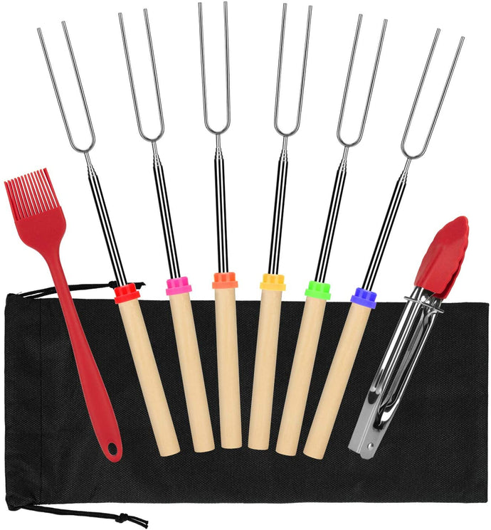 (A813)FYAIANG Marshmallow Roasting Smores Sticks & Hot Dog Forks,Telescoping Smores Skewers 32 Inch, Set of 6