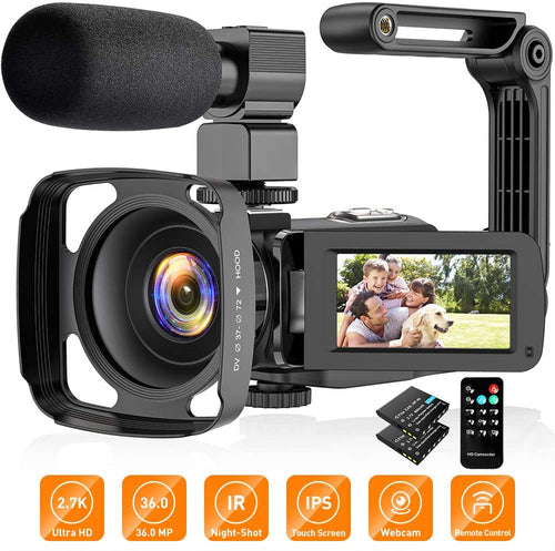 (E701)Video Camera Camcorder, Video Camera with Microphone Handheld Stabilizer Lens Hood