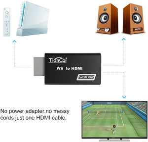 (E773) Tiancai Wii to HDMI Converter 1080P, with 3.5mm Audio Jack, HDMI Cable Included, Compatible with Nintendo Wii,