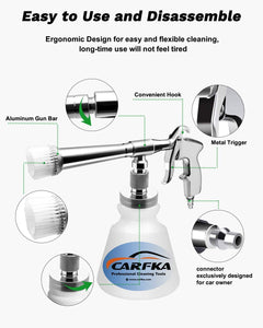 (K312)Carfka High Pressure Car Cleaning Gun, Upgraded Professional Car Interior Cleaner Detailing Wash Gun with 1L Bottle, Wash Spray Bottle Nozzle