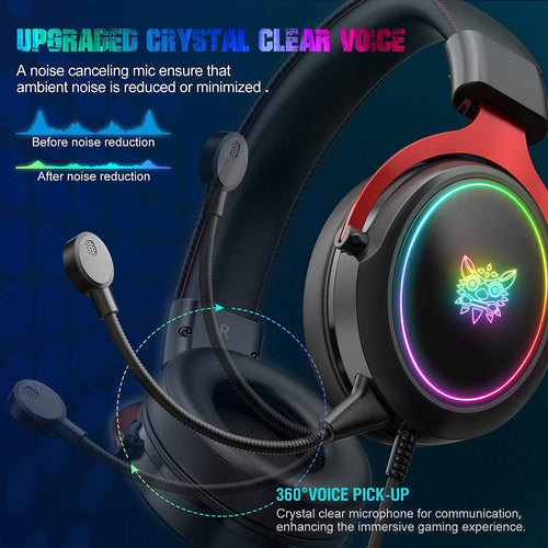 (H104)ONIKUMA Gaming Headset PS4 Headset Xbox One Headset, Noise Canceling Gaming Headphones with RGB Light,7.1 Surround Sound Crystal Clear Mic