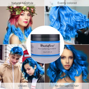 (Q262)Hair Color Wax, Unisex Disposable Blue Hair Dye, Hairstyle Coloring Cream for Party, Cosplay, Halloween, Masquerade, Club