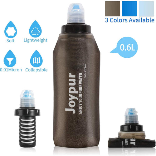 (E887)joypur Outdoor Filtered Water Bottle - BPA Free,with Filter Integrated 2 Stage Portable Water Bottle for Camping Travel Hiking Backpacking