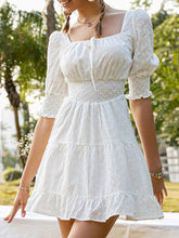 Load image into Gallery viewer, (M551) Lovinchic Women's Casual White Mini Dress Puff Sleeve Ruffle Tiered Short Dress